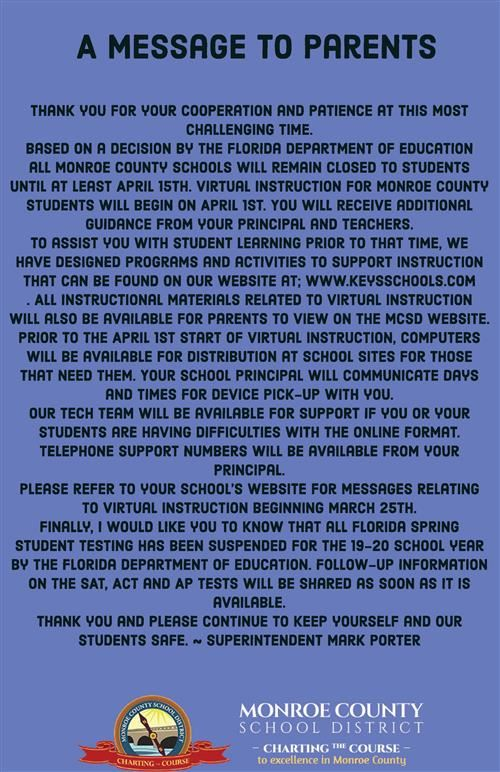 A Message for Parents from Superintendent Porter