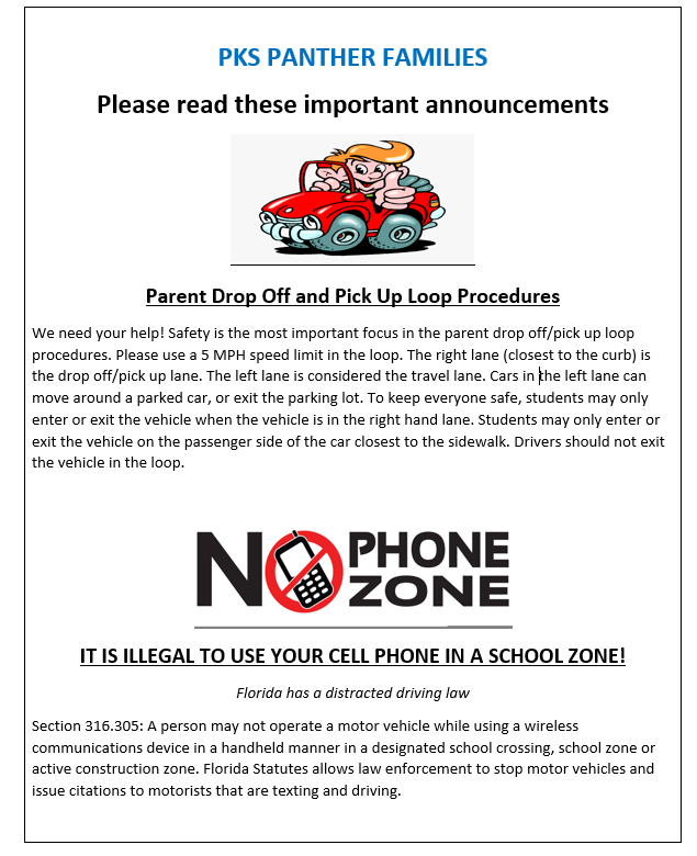 procedures for safely dropping students off at school