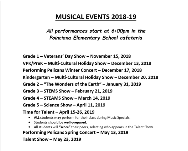 This is a picture showing the dates of upcoming musical events.